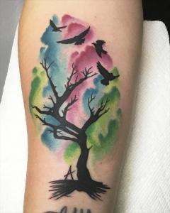 Watercolor Tree silhouettes