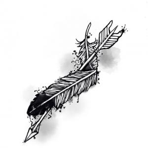 Arrow with Feather Tattoo Design