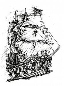 pirate ship pen ink