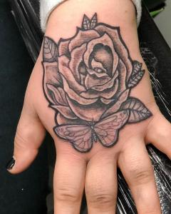 Rose + Butterfly hand