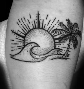 Sun & waves with Palm Tree
